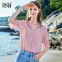 【过年3折价:104.3】OSA欧莎2019夏季新款韩版设计感小众格子短袖V领雪纺衬衫上衣女