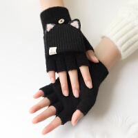 手套女冬天韩版翻盖半指可爱加厚保暖写字网红款ins针织毛线手套
