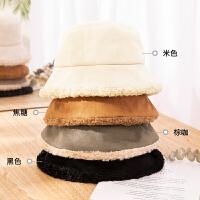羊羔毛灯芯绒渔夫帽子女冬季韩版潮百搭秋冬可爱毛线针织毛绒盆帽