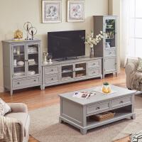 地中海创意电视柜 客厅家具大小户型茶桌地中海储物实木茶台 2m电视柜 整装