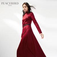 红色连衣裙春装2019新款修身桔梗裙气质法式少女裙配大衣的长裙子