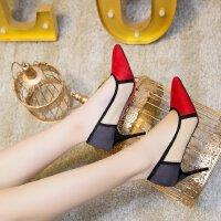 欧美拼色高跟鞋中跟7cm绒面百搭少女小脚单鞋尖头工作小清新宴会