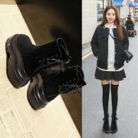 短靴女2018冬季新品英伦百搭短筒马丁靴子厚底松糕女鞋加绒 黑色