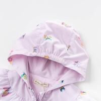 davebella戴维贝拉2020春新款女童连帽外套蝴蝶印花上衣DBM13515