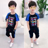 童装男童短袖套装夏装儿童中大小童帅气两件套