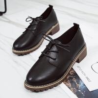 英伦风女鞋平底学院风春季单鞋女韩版系带复古黑色小皮鞋女 黑色 偏小一码