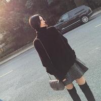 赫本风御姐套装女神范晚秋冬慵懒风心机女洋气毛衣搭配裙子两件套 黑色毛衣+毛呢短裙
