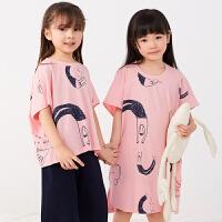 【秒杀价:153元】马拉丁童装女大童家居服2020夏装新款舒适亲肤两件套套装睡衣