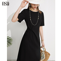 OSA夏季2021年新款气质优雅黑色醋酸连衣裙女中长款修身显瘦裙子