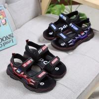 夏季儿童鞋男童PU凉鞋魔术贴中童鞋沙滩鞋凉鞋