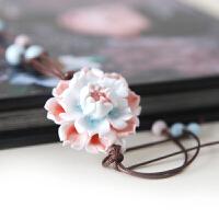 原创手工花朵项链 毛衣链 民族风陶瓷饰品 手捏花朵