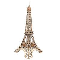 3d木质拼插巴黎埃菲尔铁塔木板拼图立体模型组装木头拼装玩具