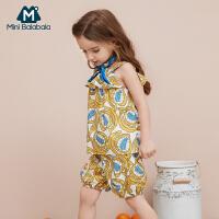 【2件4折】迷你巴拉巴拉女童吊带套装夏装新款儿童背心阔腿裤两件套衣服