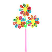 幼儿园宝宝卡通大风车小孩手工七彩风车儿童户外大号塑料风车玩具
