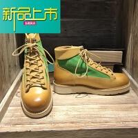 新品上市潮男马丁靴韩版英伦欧美男复古工装短靴手工阿美咔叽大黄靴 姜黄色