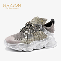 【 立减120】哈森2019秋季新款牛皮革圆头平跟运动休闲鞋 拼色旅游鞋女HL96805