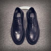 秋季新款男士皮鞋英伦潮流布洛克休闲鞋皮鞋男鞋 8896黑色 42