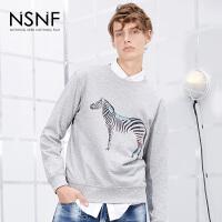 NSNF彩金斑马圆领灰色套头卫衣 2017秋冬新款