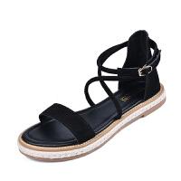 罗马凉鞋女夏新款学生韩版凉鞋海边女度假平底一字带凉鞋