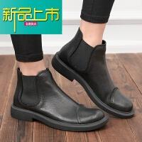新品上市冬季新款马丁靴男短靴英伦真皮时尚中帮男靴潮流套筒靴子男