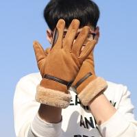 韩版男学生秋冬季骑车防风防寒麂皮绒皮手套冬天加厚加绒保暖触屏