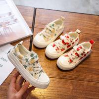 儿童帆布鞋水果图板鞋魔术贴中大童鞋男童女童休闲鞋