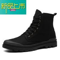 新品上市靴子男春季19新款马丁靴男潮英伦工装短靴男士百搭高帮鞋潮