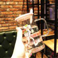 汉馨堂 卡通玻璃杯 创意可爱卡通玻璃杯办公室家用大容量个性水杯早餐牛奶带盖勺杯子