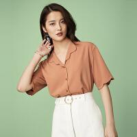 新年特惠小清新衬衫夏季女2019新款韩版夏装中袖心机上衣设计感女 桔色