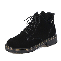 大码女靴秋冬季高帮鞋女马丁靴2018新款加绒棉靴短靴