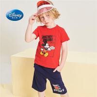 迪士尼童装夏装2020新款儿童套装男女中童衣服短袖短裤2-13岁休闲