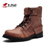 走索男鞋皮靴子男士休闲鞋潮流马丁靴男军靴短靴zs15168