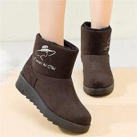雪地靴女妈妈鞋加绒保暖平底滑女短靴短筒女鞋中年女靴棉鞋
