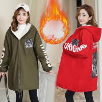 厚保暖孕妇棉衣服 孕妇冬装外套2018韩版新款长袖连帽中长款加绒