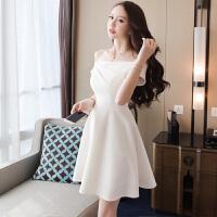 新年特惠小礼服女2019冬装女装新款法式气质裙子白色露肩一字肩连衣裙 白色