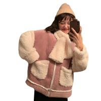 新年礼物2019新款冬季韩版宽松灯芯绒复合仿羊羔毛加厚学生棉衣外套女 均码