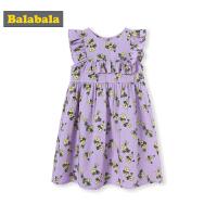 巴拉巴拉童装女童裙子儿童连衣裙夏季新款小童宝宝棉麻碎花裙