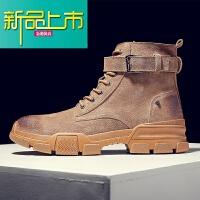 新品上市香港潮牌马丁靴冬季高帮棉鞋雪地靴子男工装短靴英伦中帮沙漠皮靴