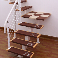 可定制免胶自粘实木楼梯垫踏步垫防滑家用地垫地毯旋转台阶楼梯贴q 浅棕色 咖啡侣小孩