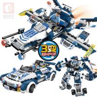 兼容乐高拼装警察汽车男孩子组装警车机器人拼插飞机玩具 3变龙怒超警9546(354片)