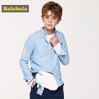 【7折价:62.93】巴拉巴拉男童衬衫儿童衬衣长袖新款春季中大童童装学院风上衣