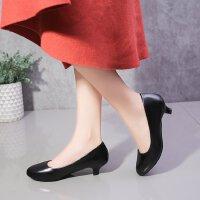 高跟鞋女浅口细跟秋款低跟3厘米圆头学生工作面试单鞋大码皮鞋ol