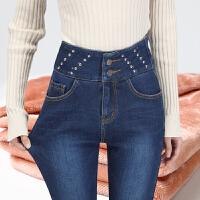 安妮纯加绒加厚保暖钉珠牛仔裤女冬季新款高腰修身显瘦小脚加绒裤