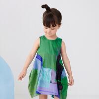 【秒杀价:129元】马拉丁童装女小童连衣裙2020春夏新款艺术满印图案背心连衣裙