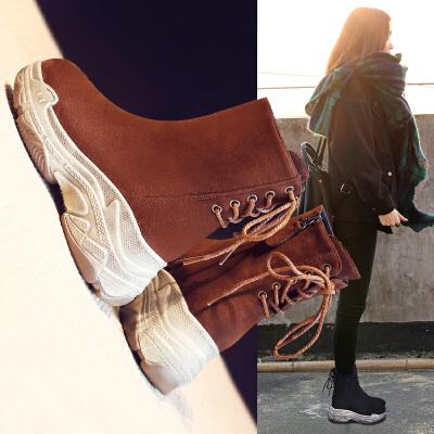 ins马丁靴子女鞋秋冬季2019新款短筒韩版百搭中筒厚底英伦风短靴