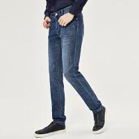 七匹狼牛仔裤2019春季时尚商务休闲男士修身小脚牛仔长裤男装
