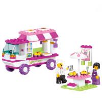 拼装积木塑料拼插 女孩儿童玩具 快餐车