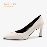 【 限时3折】哈森 2019春夏新款通勤单鞋女 羊皮尖头细跟7.5CM 高跟鞋HS97109