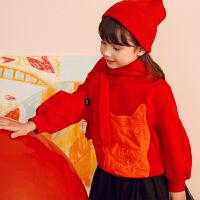 【秒杀价:135元】马拉丁童装女大童卫衣春装2020年新款百搭红色短款圆领卫衣