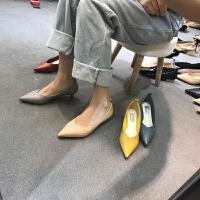 尖头高跟鞋裸色单鞋春秋欧美浅口6cm小跟鞋潮新款细跟猫跟鞋